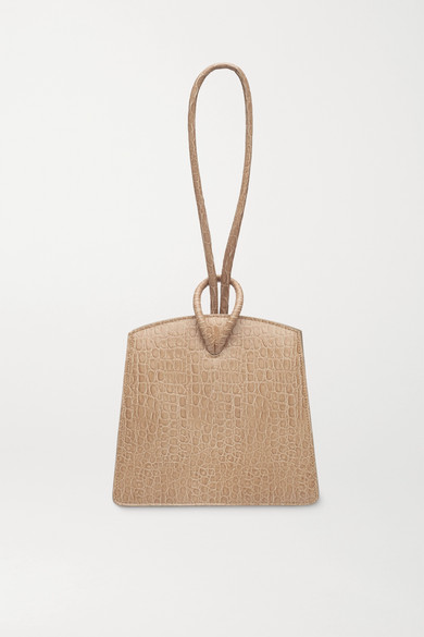 Little Liffner Loop Croc-effect Leather Tote In Sand