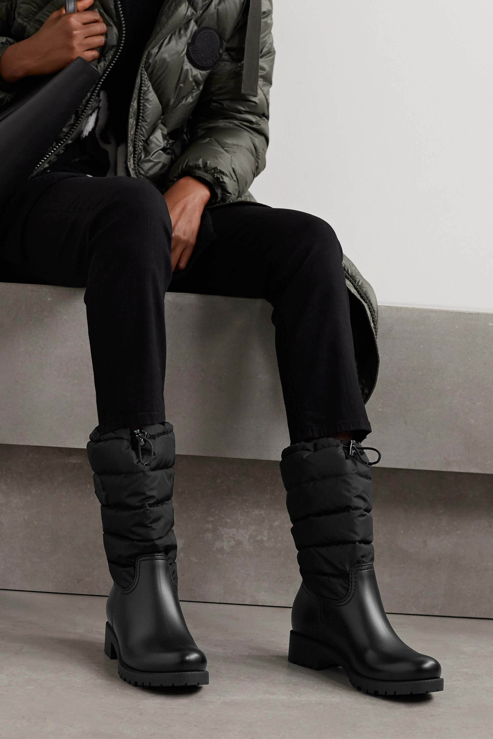 Moncler Ginette quilted nylon and rubber rain boots