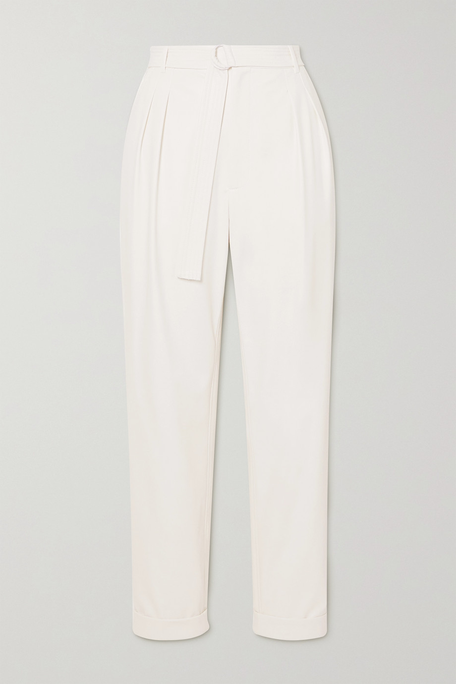 LAPOINTE Belted pleated faux stretch-leather tapered pants