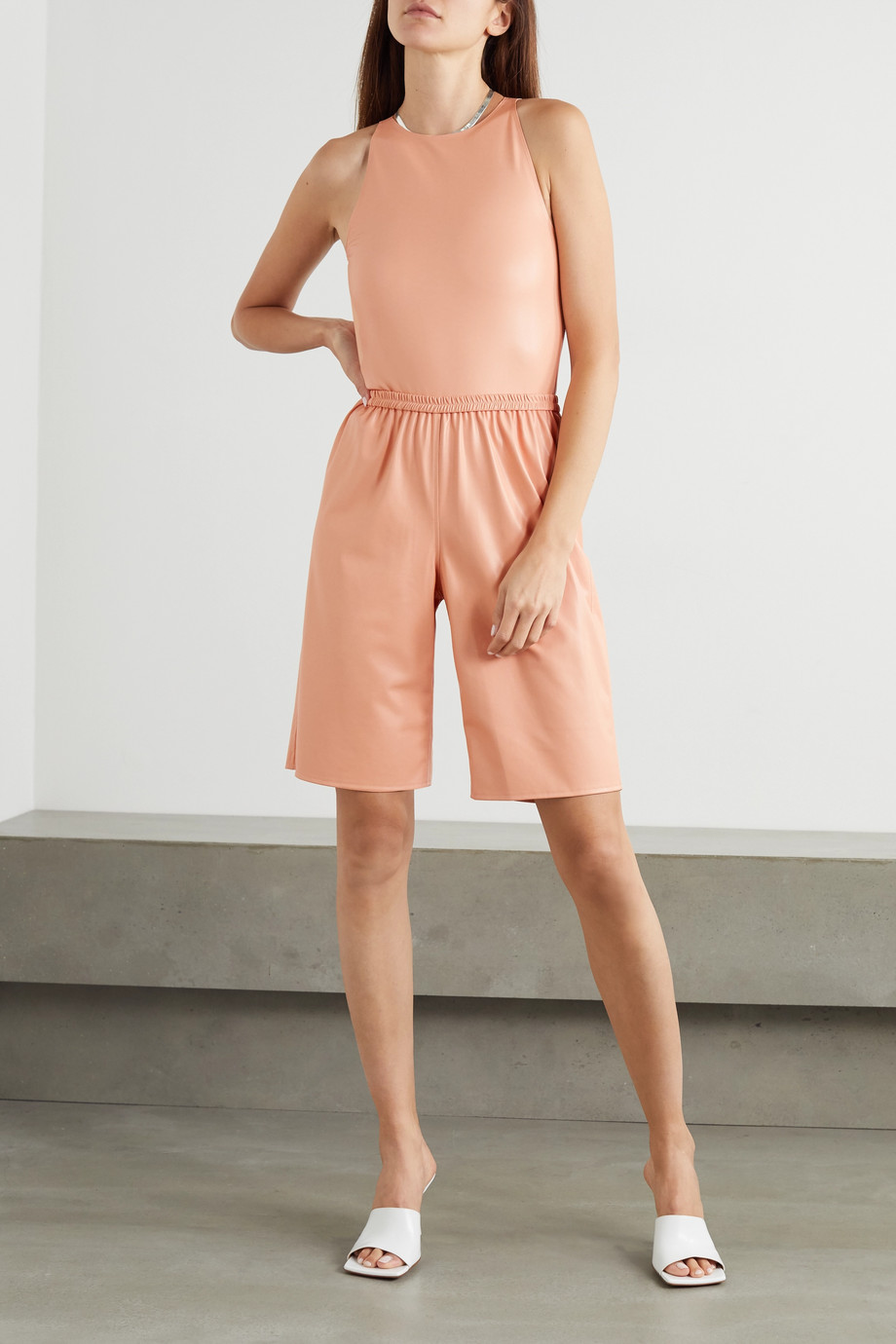 LAPOINTE Faux leather and stretch-jersey bodysuit