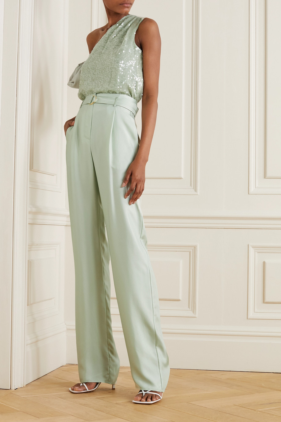 LAPOINTE Belted silk-twill wide-leg pants