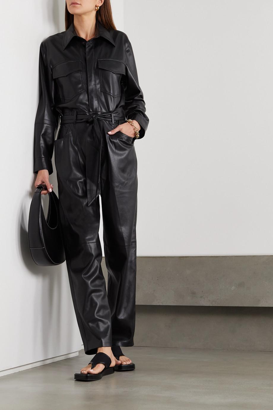 Nanushka Ashton Jumpsuit aus Kunstleder mit Bindegürtel