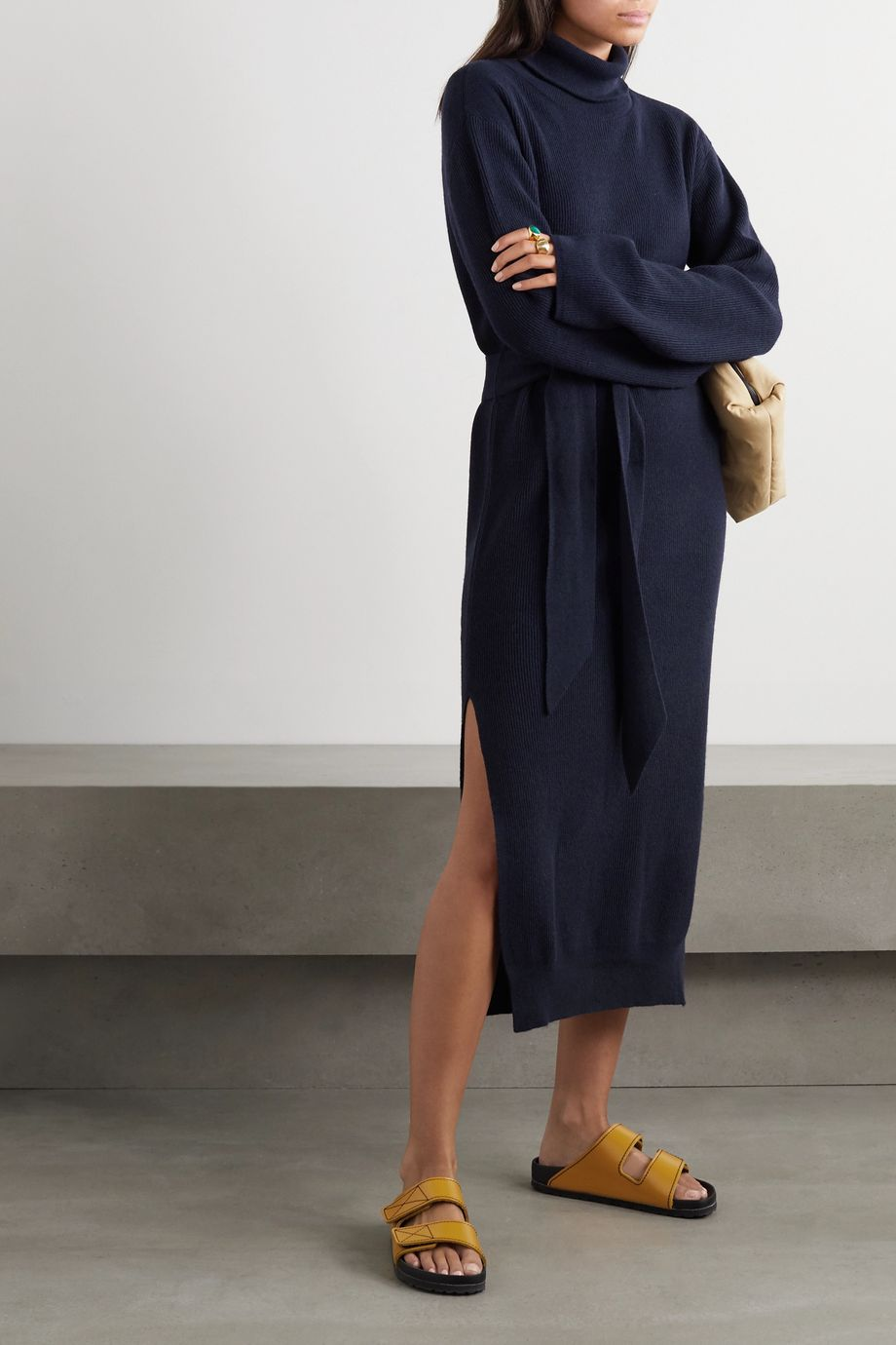 Nanushka Canaan belted ribbed-knit turtleneck midi dress