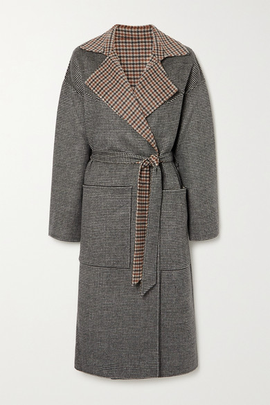 Nanushka - Alamo Reversible Belted Houndstooth Wool And Silk-blend Coat - Neutral