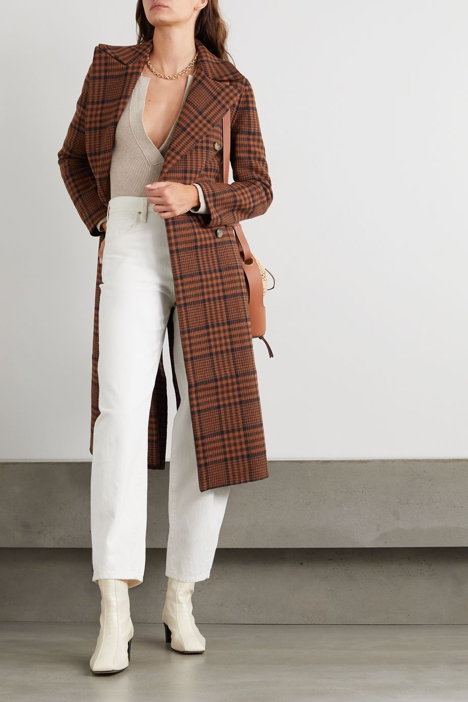 Nanushka Lana double-breasted checked wool-blend coat