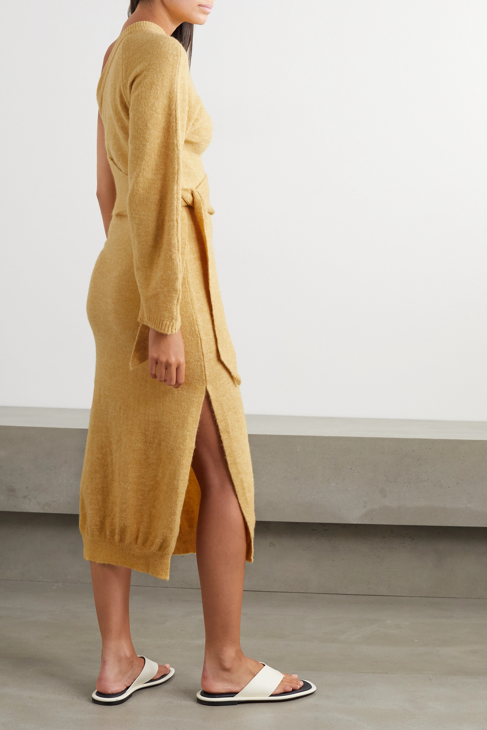 Nanushka Cedro one-sleeve tie-detailed stretch-knit midi dress