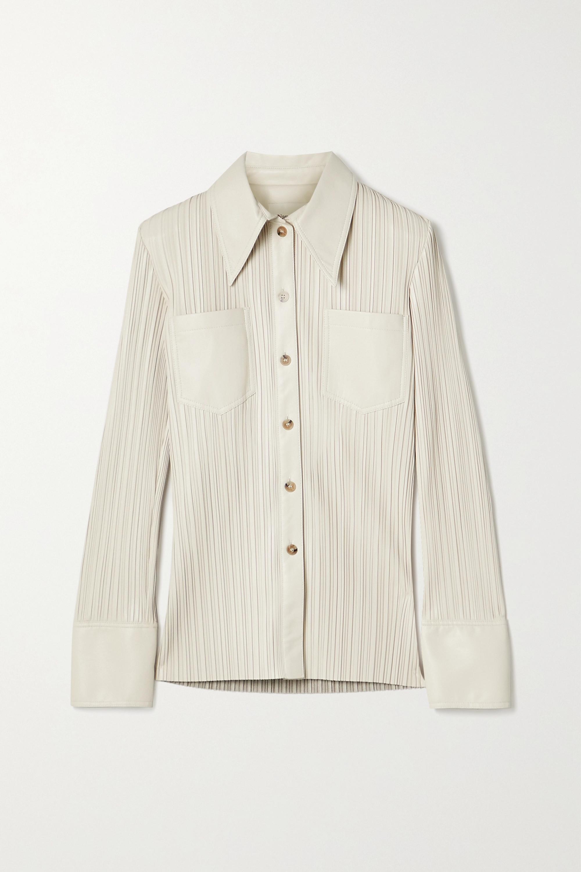 Nanushka Blaine pleated vegan leather shirt