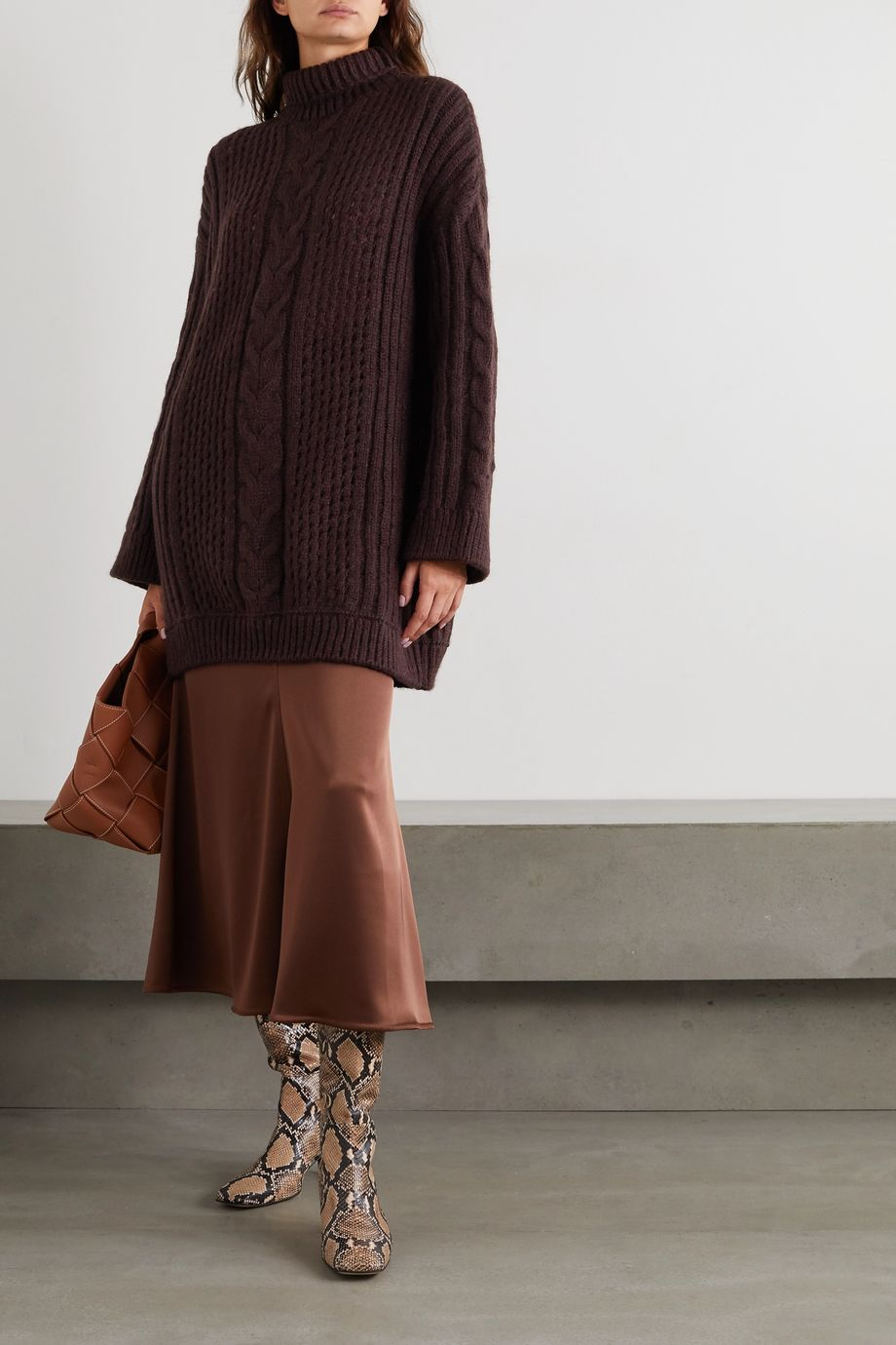 Nanushka Diya cable-knit turtleneck sweater