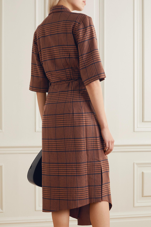Nanushka Lais asymmetric draped checked tweed wrap dress