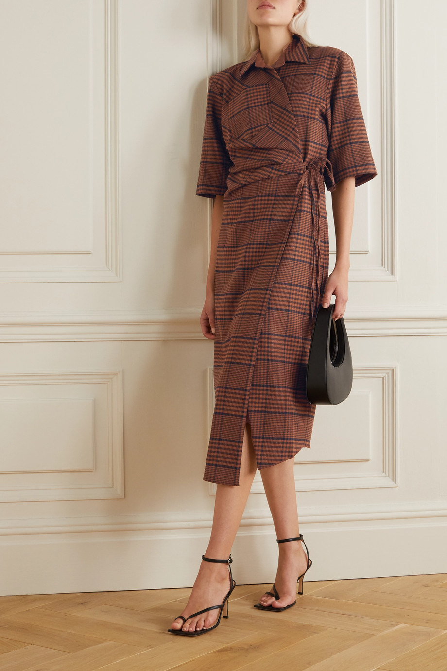 Nanushka Lais asymmetric draped checked tweed wrap dress