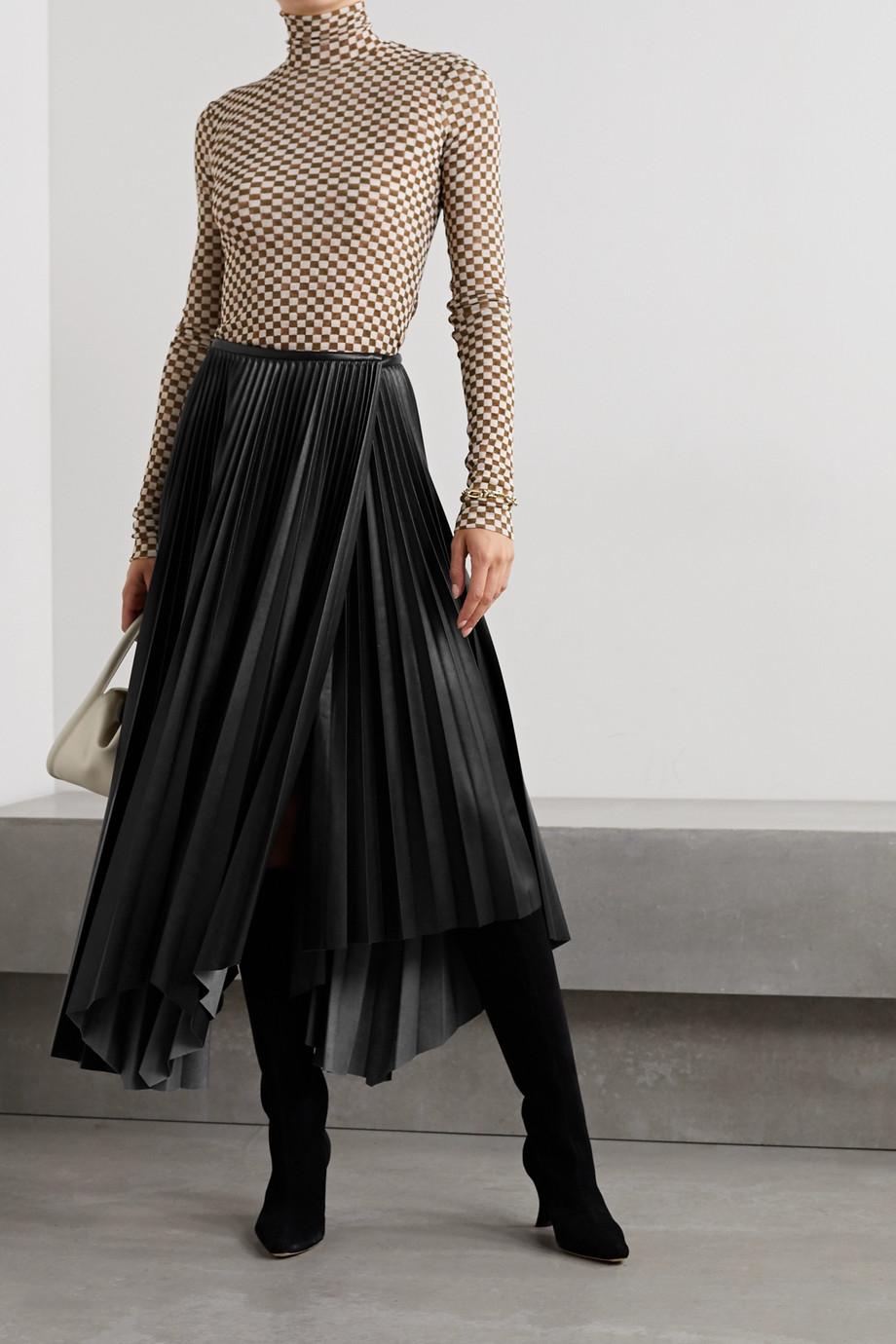 Nanushka Beeja asymmetric pleated vegan leather wrap skirt