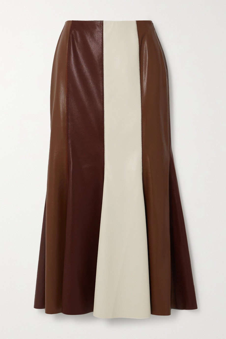 Nanushka Artem color-block vegan leather midi skirt