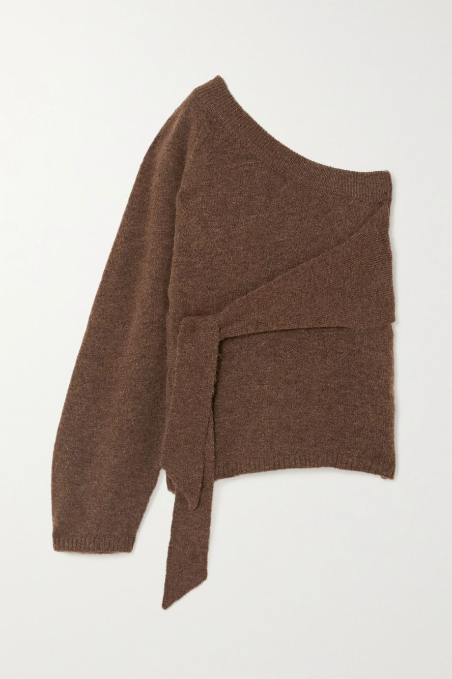 Nanushka Cleto cropped one-sleeve tie-detailed stretch-knit sweater