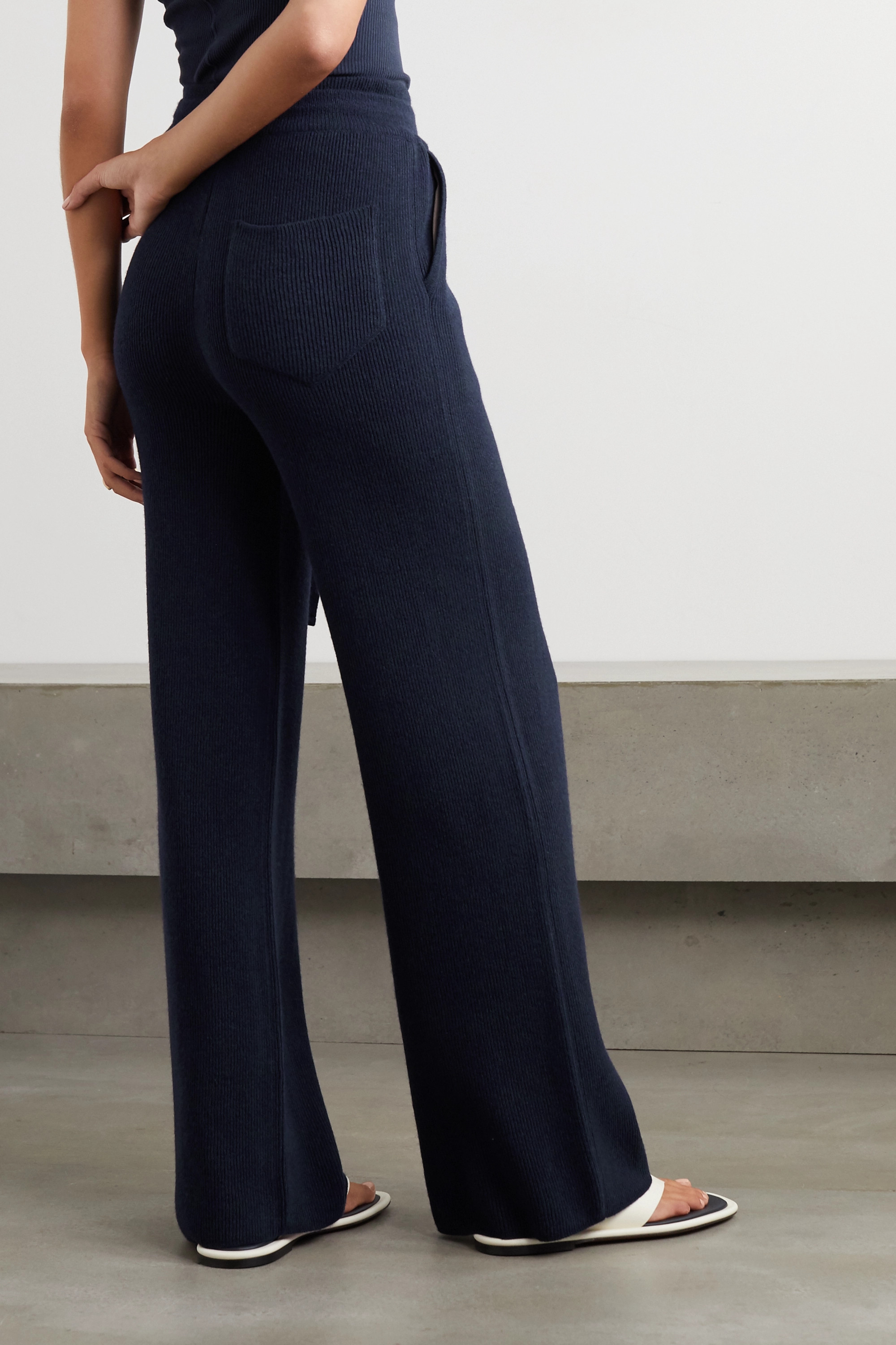 Nanushka Oni ribbed-knit wide-leg pants