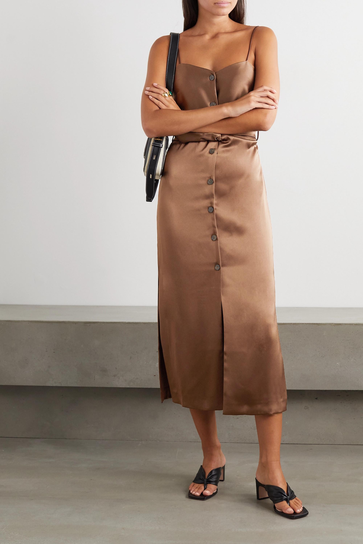 Nanushka Sayan belted satin midi dress