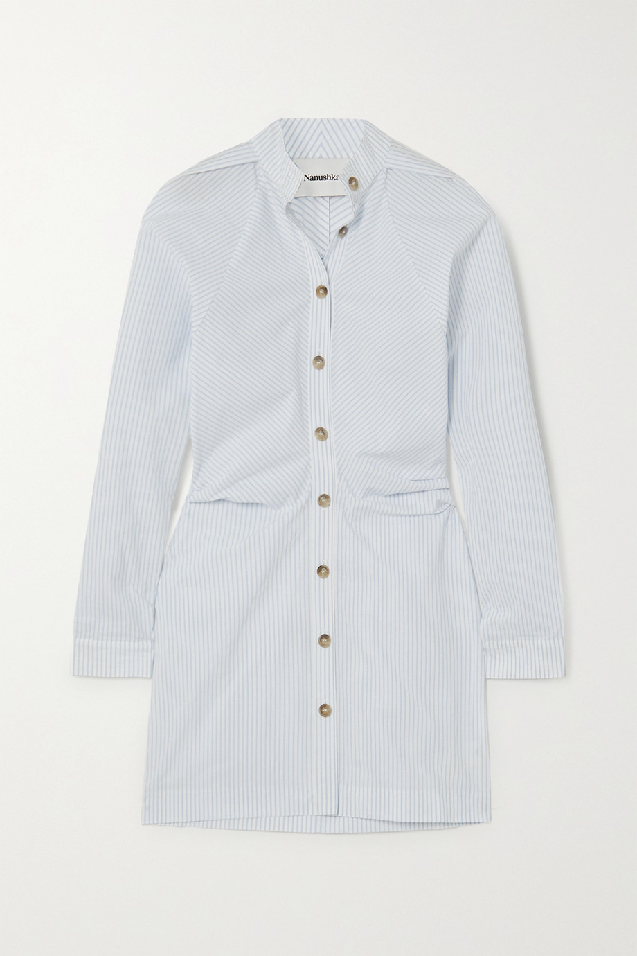 Nanushka Violet ruched pinstriped cotton-poplin shirt dress
