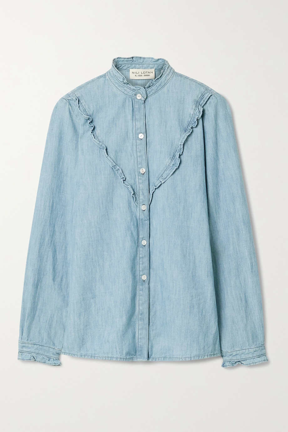 Nili Lotan Marcela ruffled cotton-chambray shirt