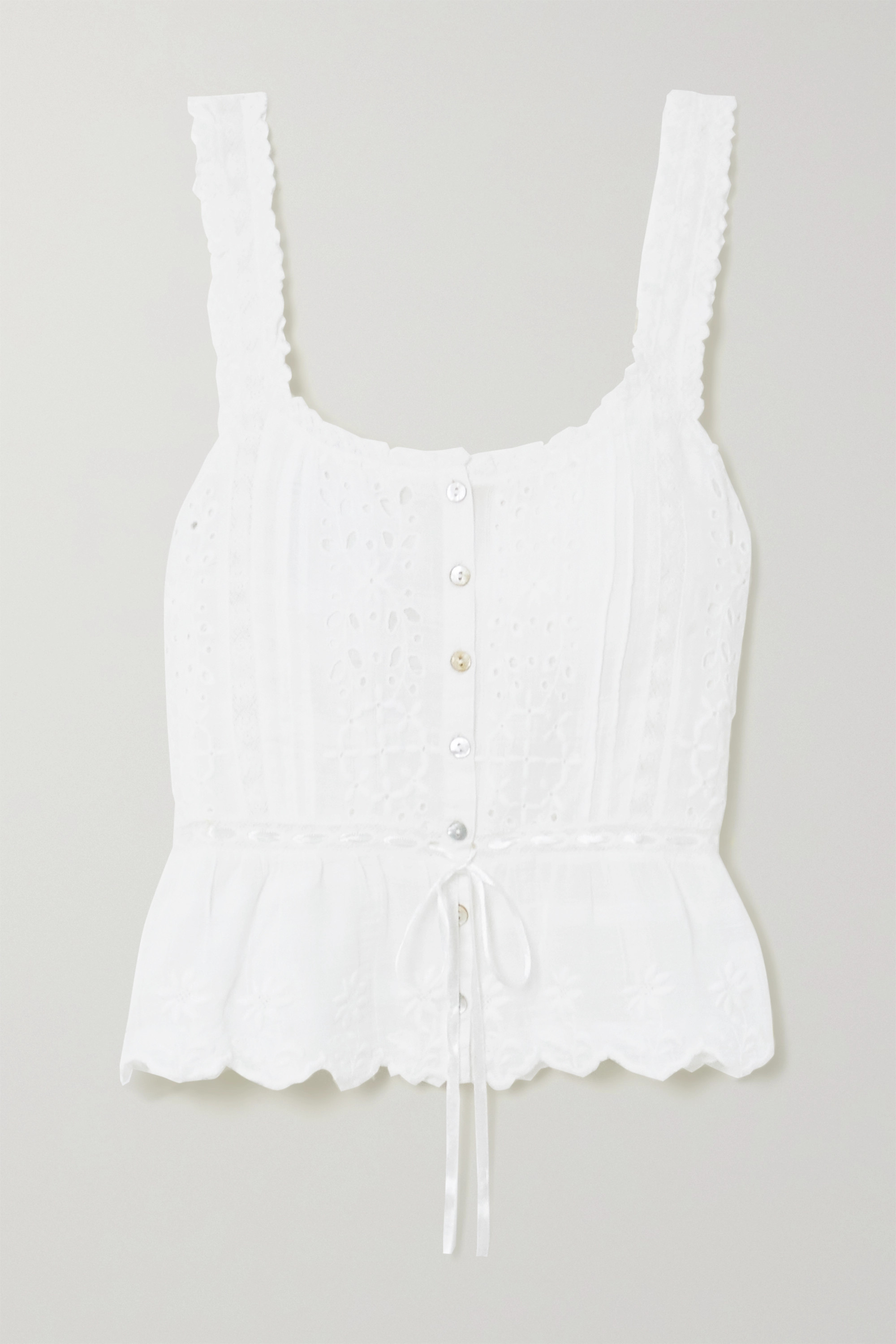 LoveShackFancy Luanne crochet-trimmed embroidered cotton-voile top