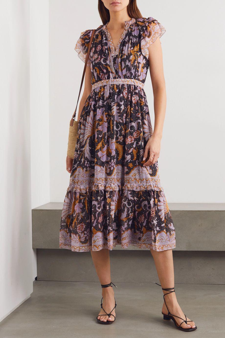 Ulla Johnson Celestia ruffled printed fil coupé silk and Lurex-blend dress