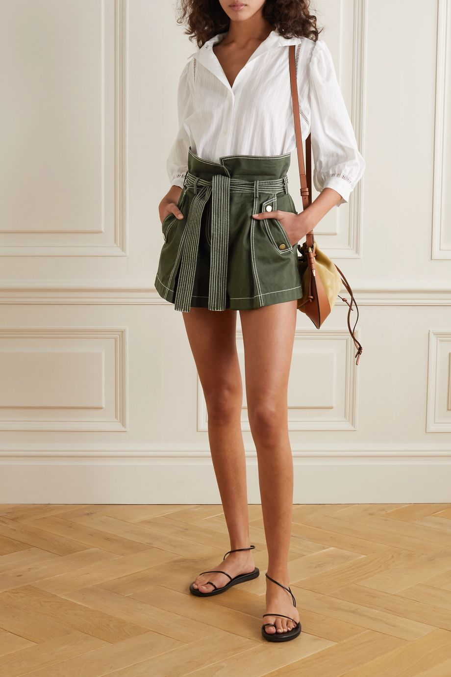 Ulla Johnson Elliott belted cotton-gabardine cargo shorts