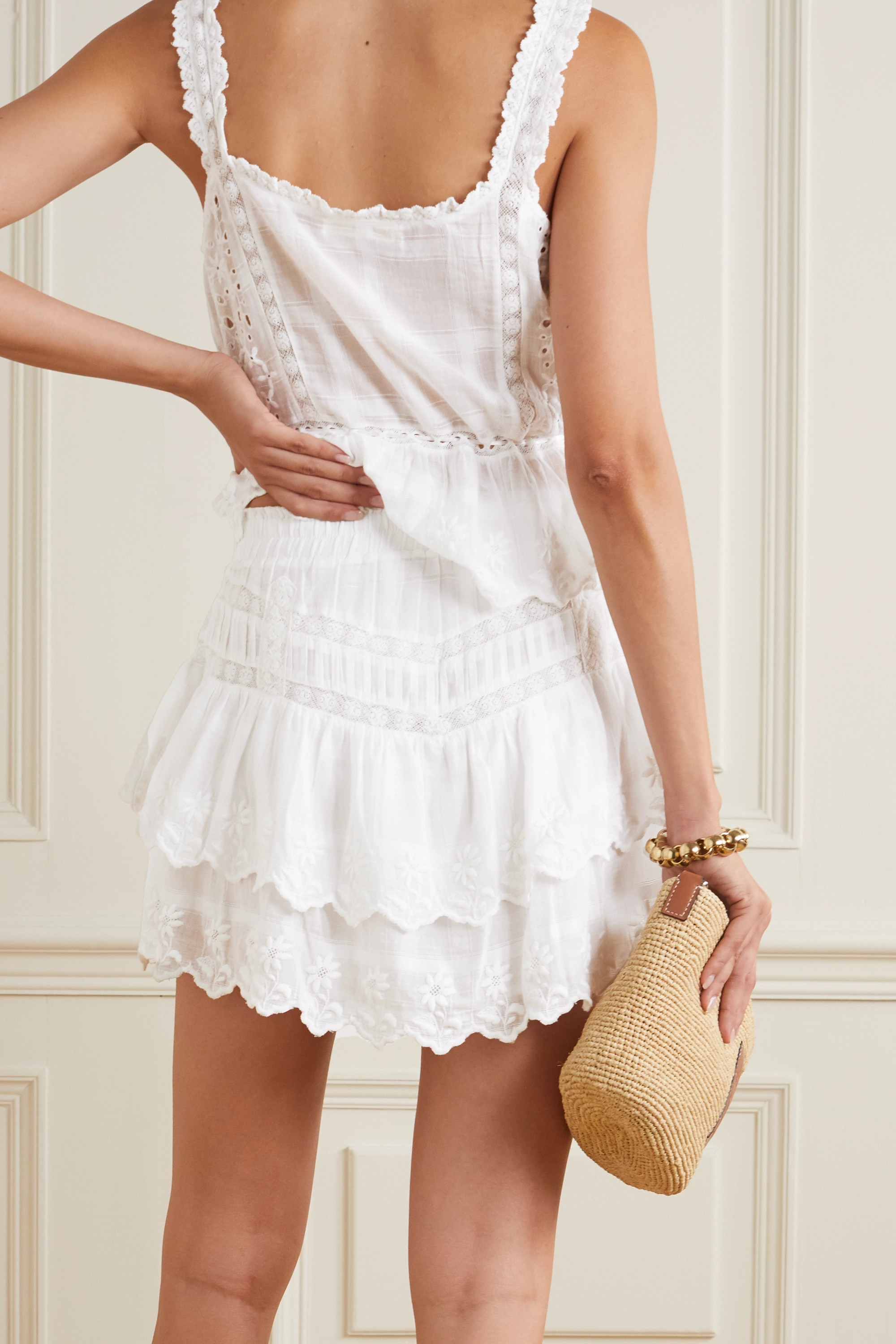 LoveShackFancy Emilia crochet-trimmed tiered embroidered cotton-voile mini skirt