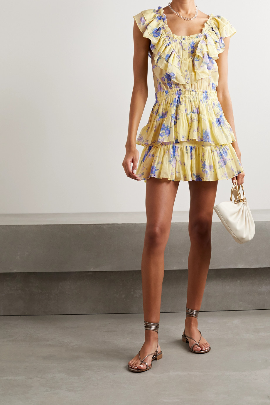 LoveShackFancy Fatima ruffled floral-print cotton and silk-blend mini dress