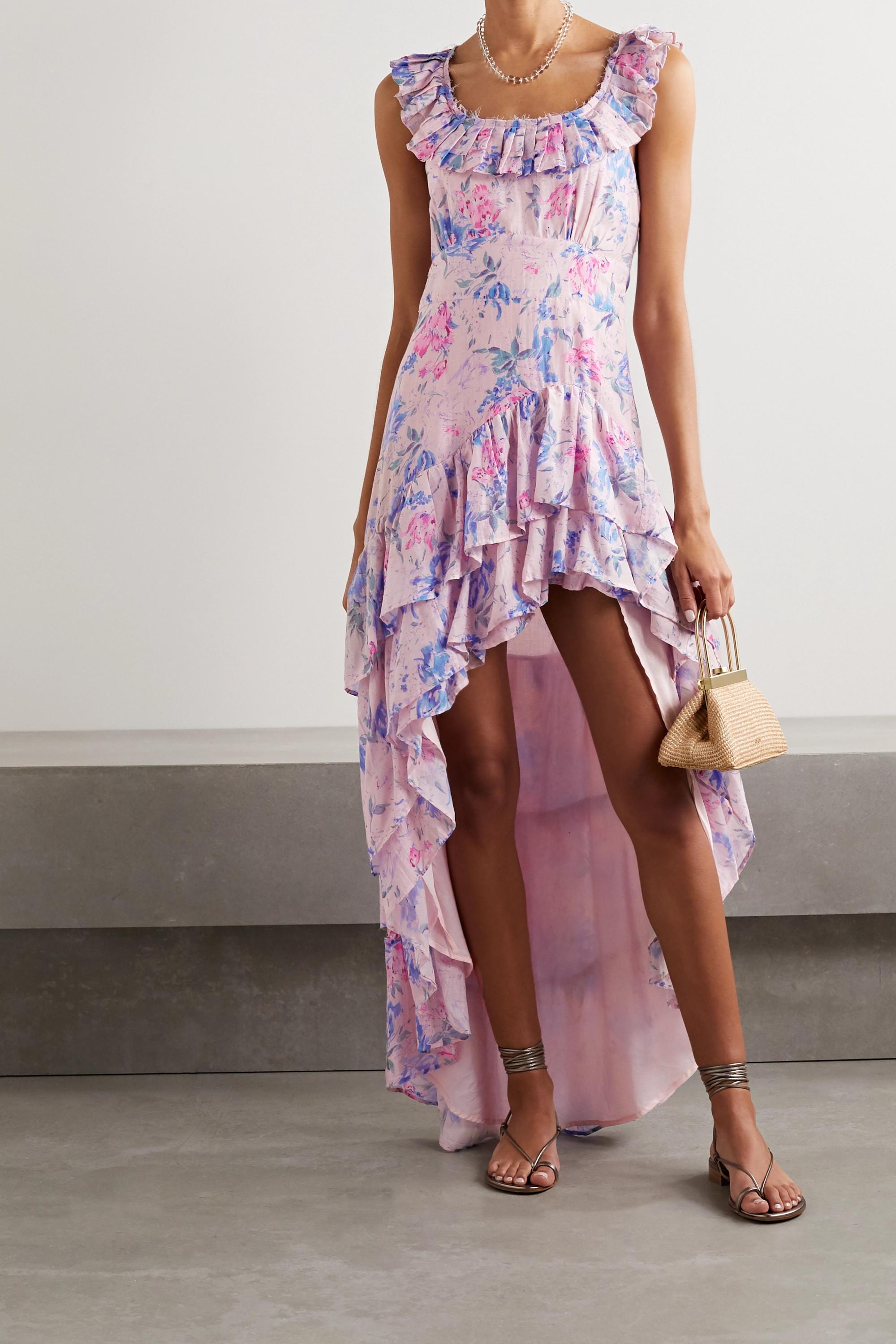 LoveShackFancy Winslow asymmetric ruffled floral-print cotton and silk-blend dress