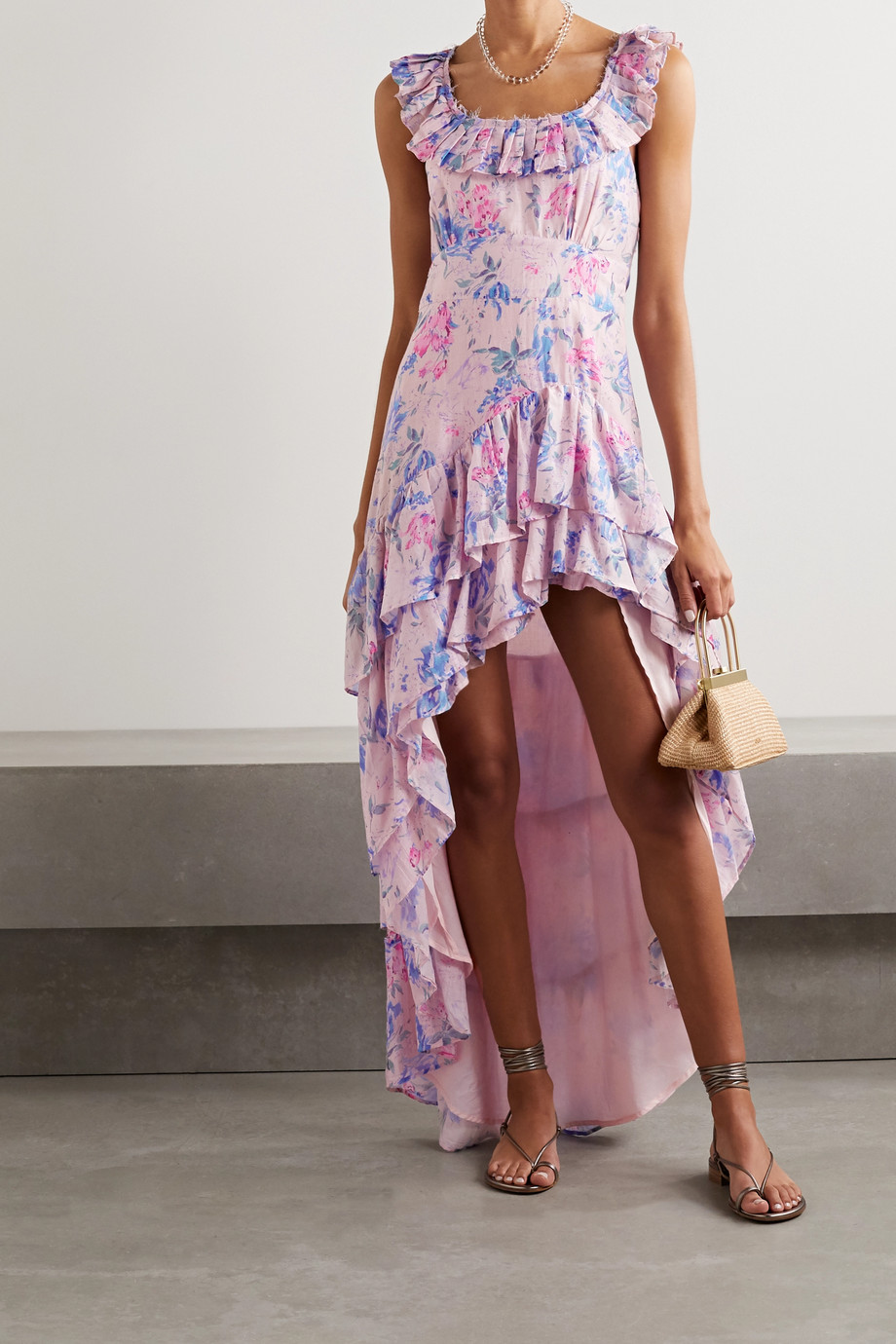 LoveShackFancy Winslow asymmetric ruffled floral-print cotton and silk-blend dress