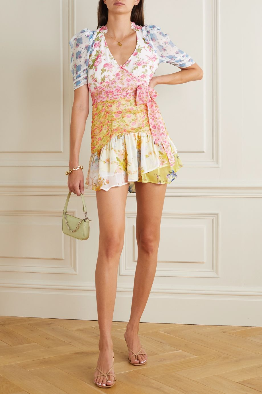 LoveShackFancy Arlo belted ruffled patchwork floral-print silk-georgette mini dress