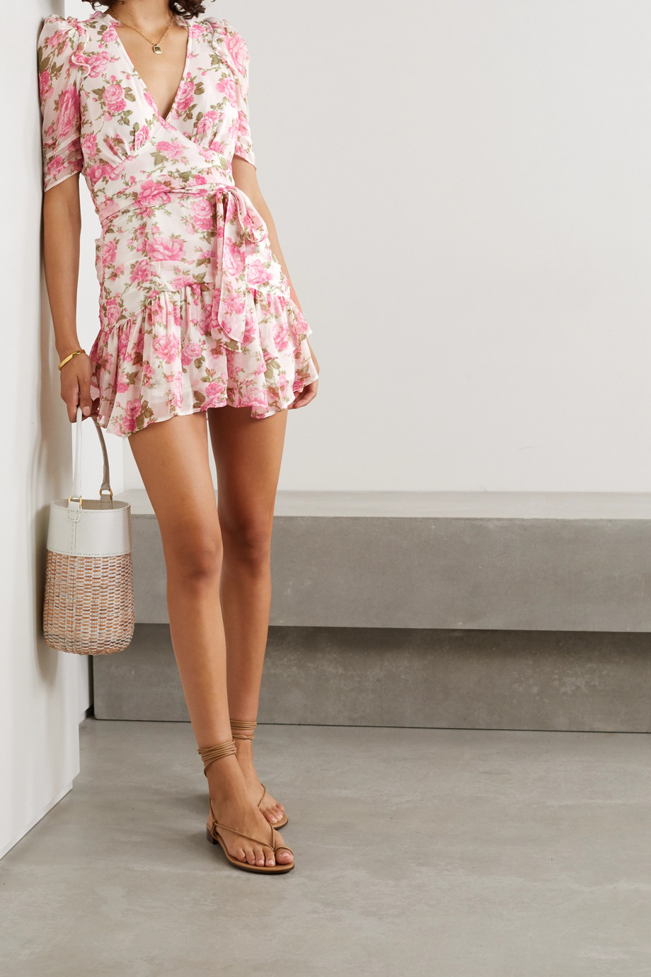 LoveShackFancy Arlo belted ruffled floral-print silk-georgette mini dress