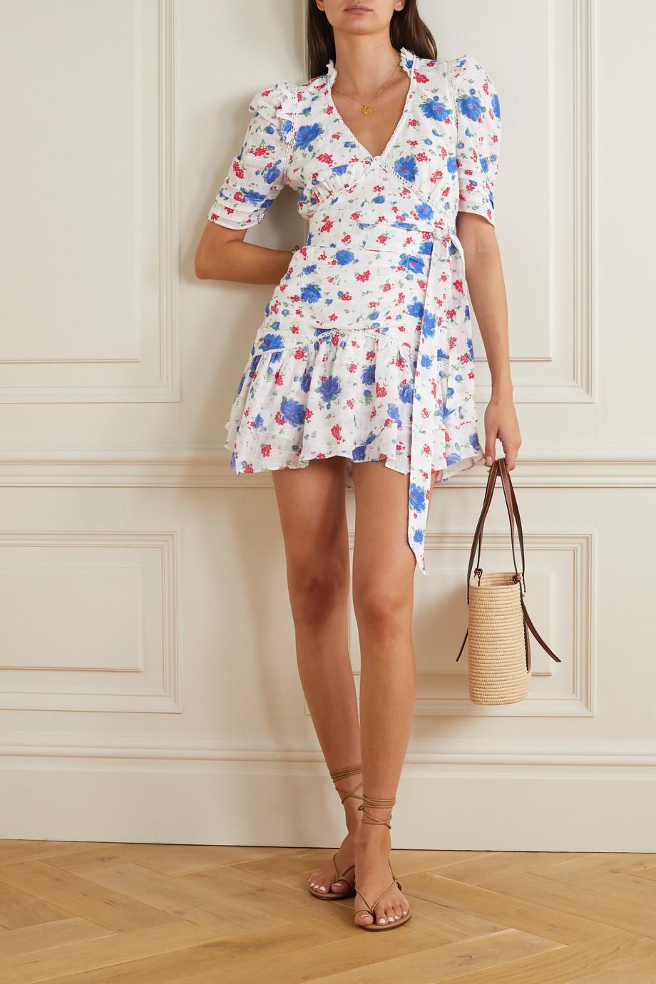 LoveShackFancy Mini-robe en coton à imprimé fleuri, finitions en crochet, volants et ceinture Arlo