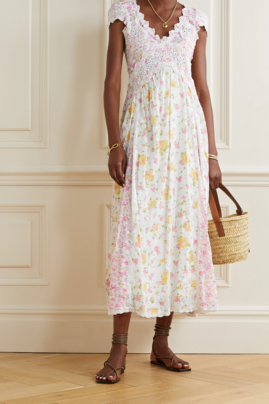 LoveShackFancy Archer crochet-trimmed floral-print broderie anglaise cotton dress