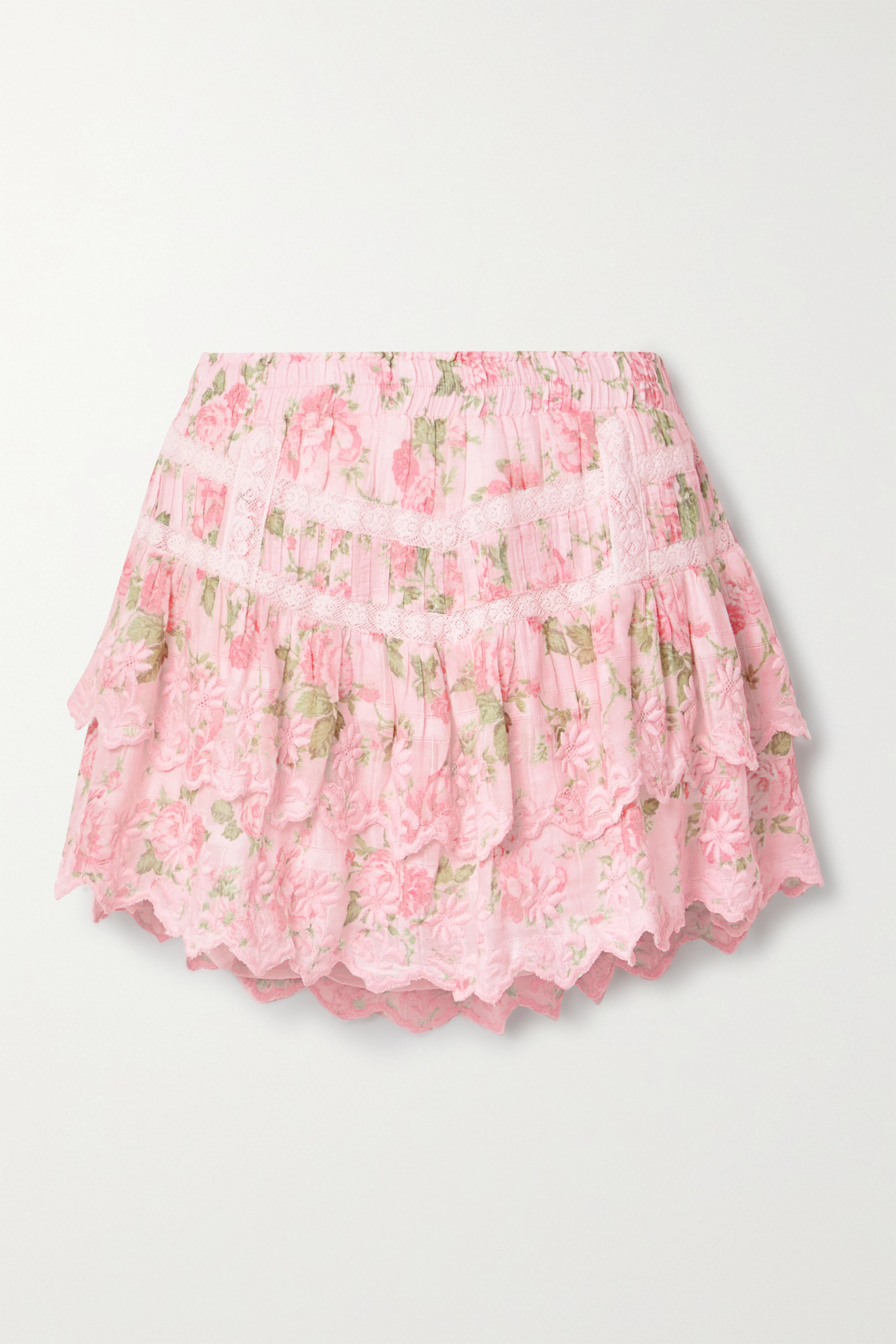 LoveShackFancy Emilia tiered embroidered floral-print cotton-voile mini skirt