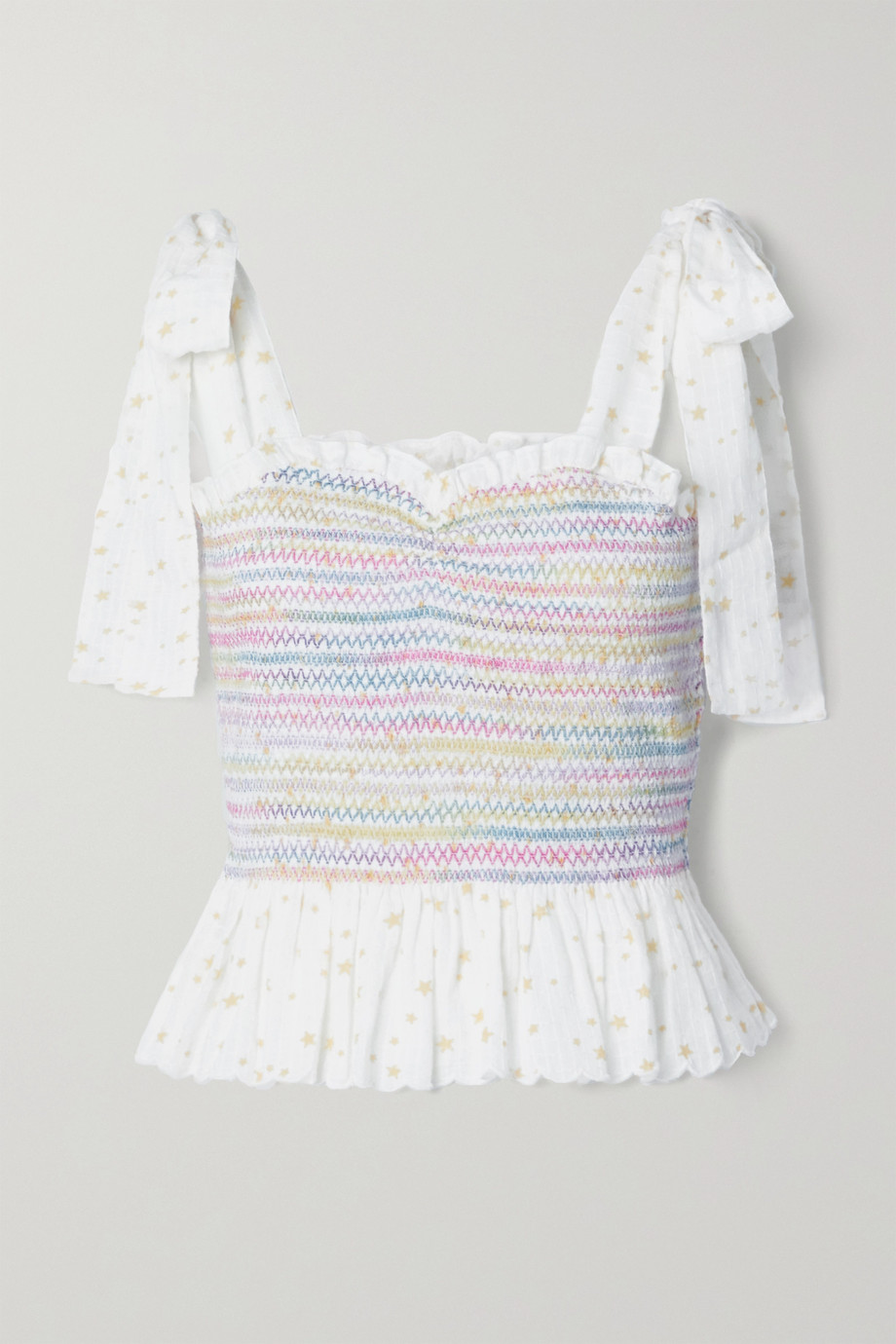 LoveShackFancy Bucky tie-detailed shirred printed cotton-voile top
