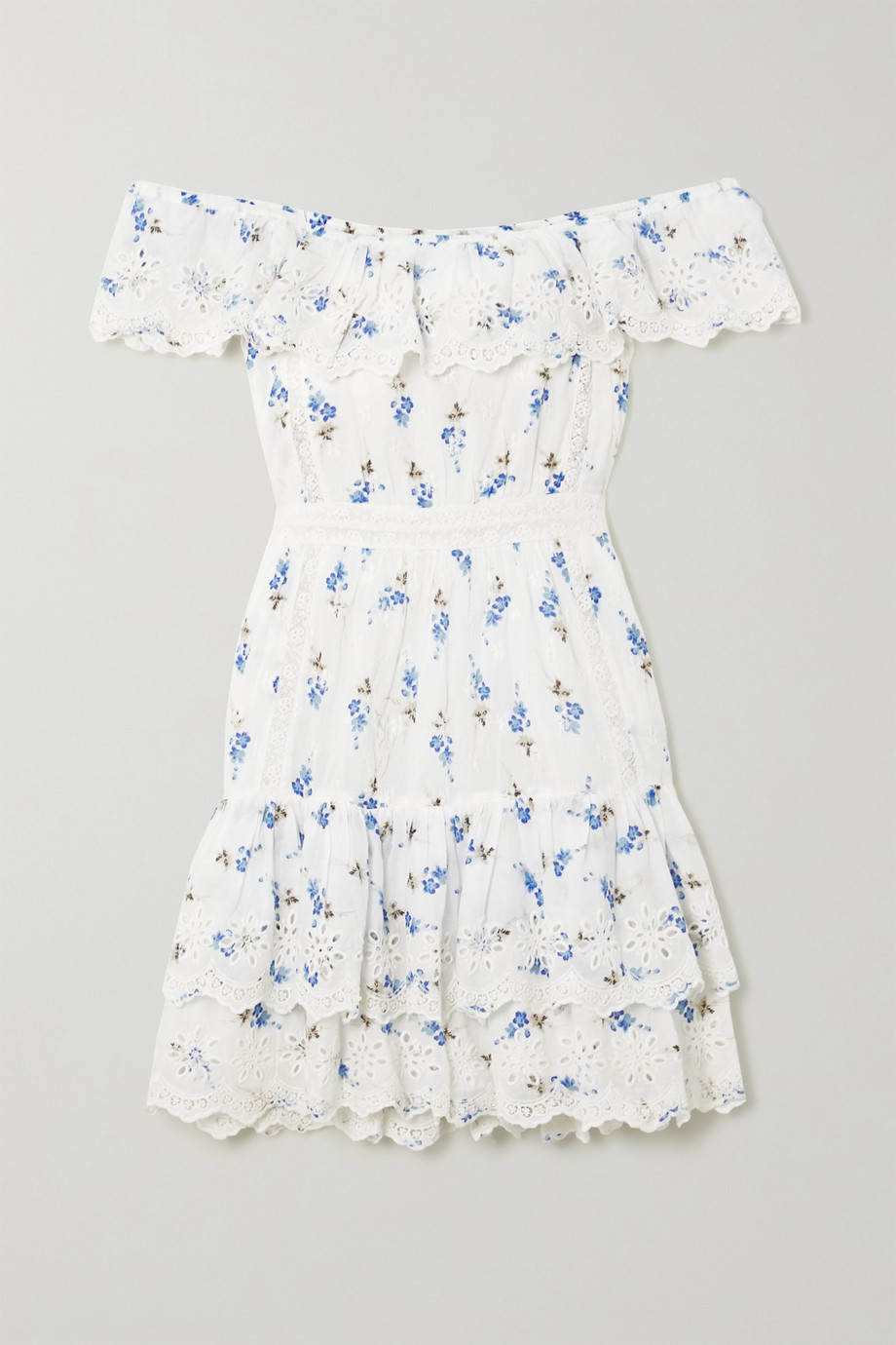 LoveShackFancy Denver off-the-shoulder tiered floral-print broderie anglaise cotton mini dress