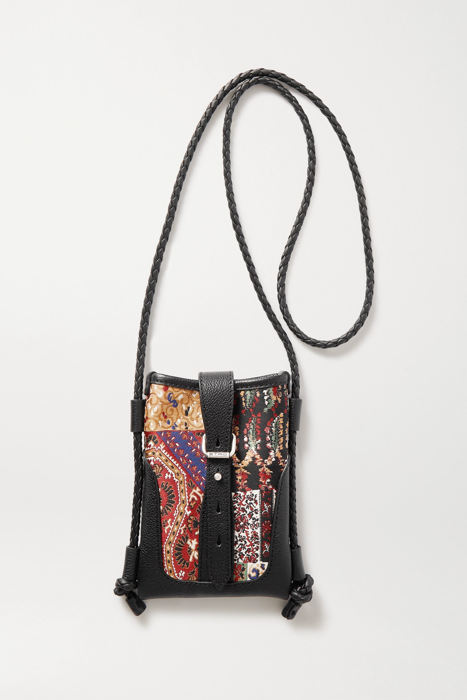 Etro Jacquard and textured-leather pouch