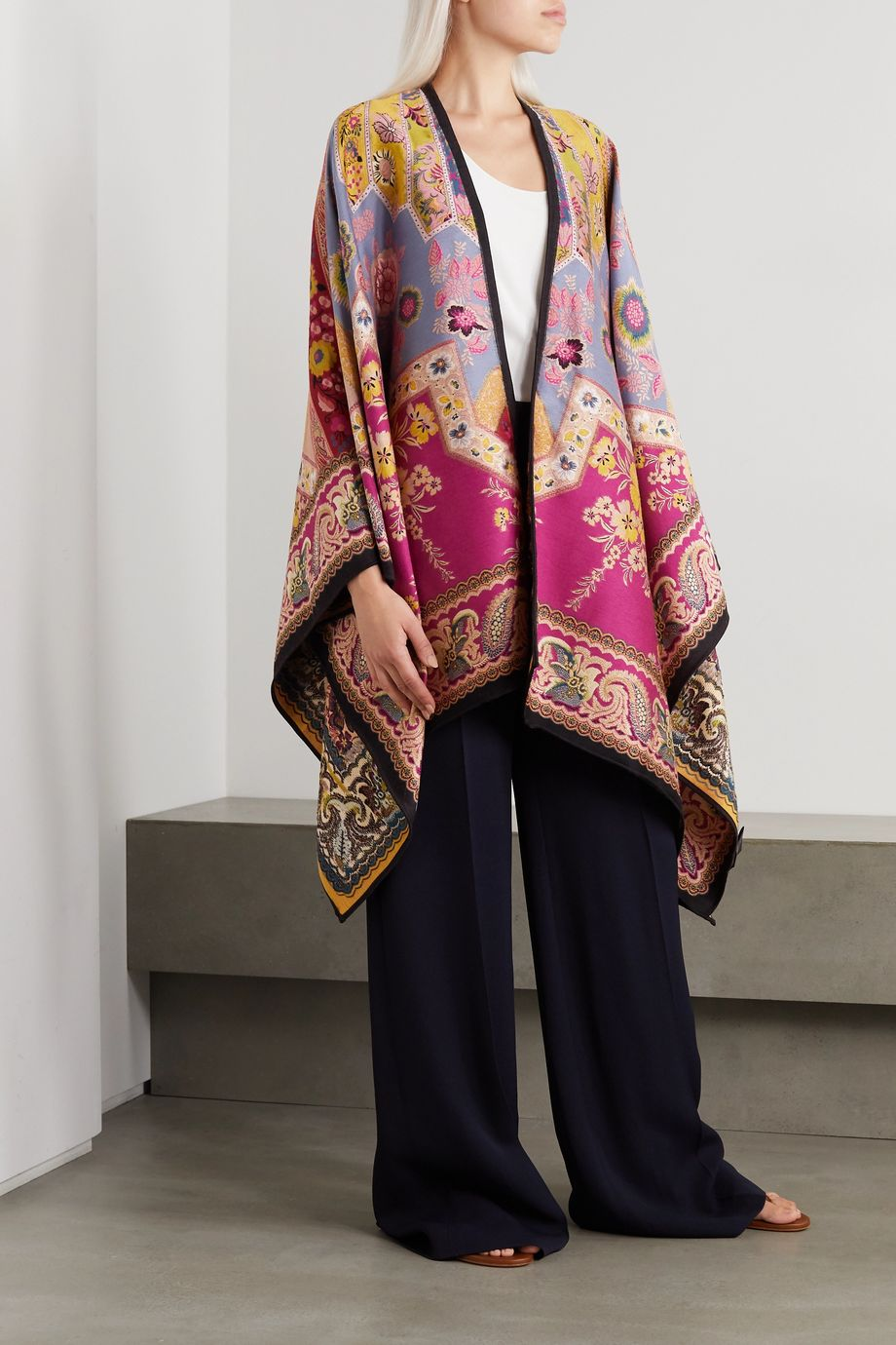 Etro 羊毛混纺提花裹身围巾