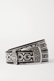Etro Embroidered studded glossed-leather belt