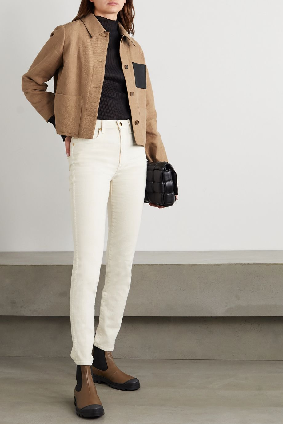 Salvatore Ferragamo Cropped leather-trimmed cotton and linen-blend jacket