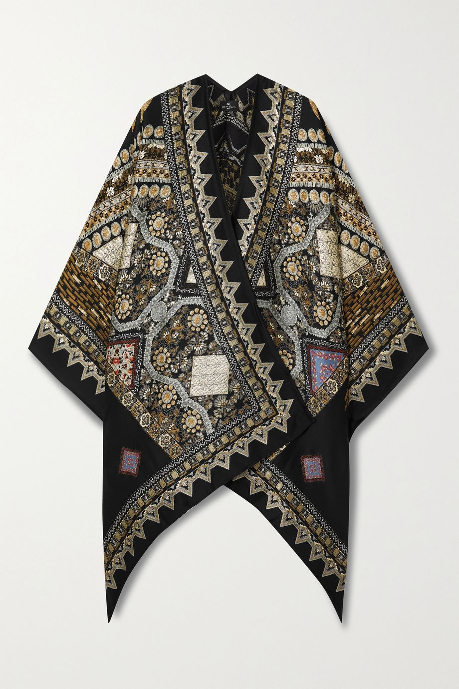 Etro Metallic wool-blend jacquard wrap