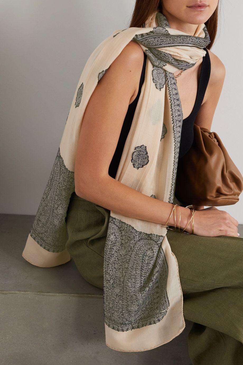 Etro 羊毛混纺提花围巾
