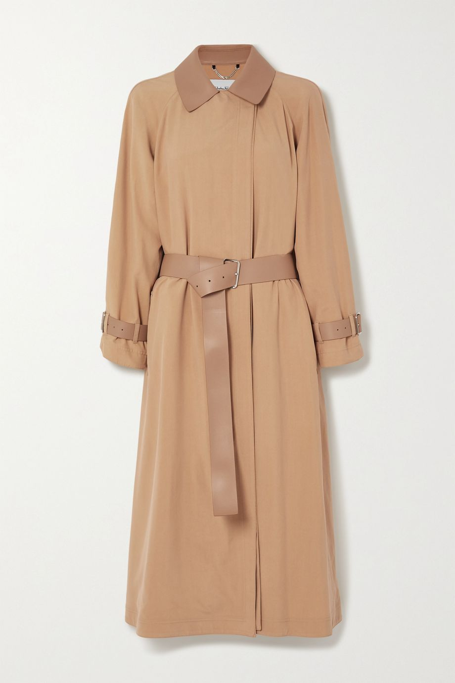 Salvatore Ferragamo Belted leather-trimmed silk trench coat