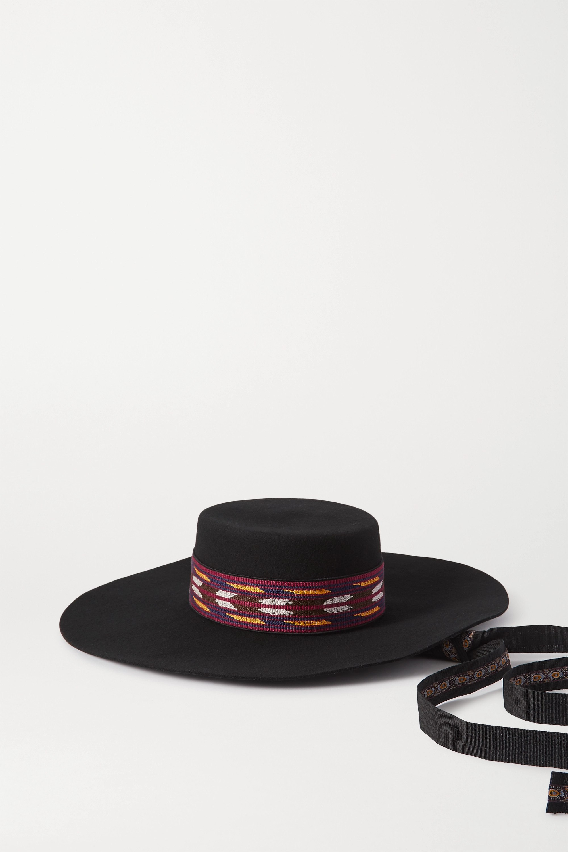 Etro Cappello Gaucho embroidered grosgrain-trimmed wool-felt hat