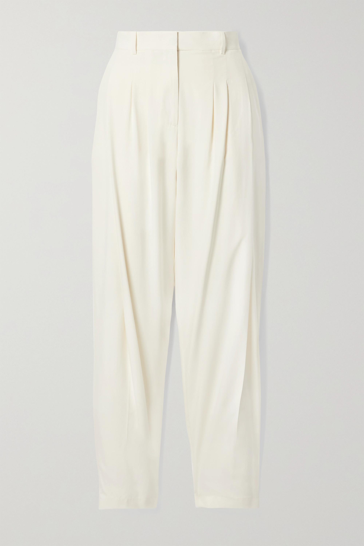 Salvatore Ferragamo Pantalon fuselé en soie lavée à plis
