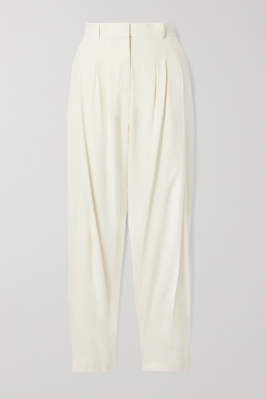 Salvatore Ferragamo Pleated washed-silk tapered pants