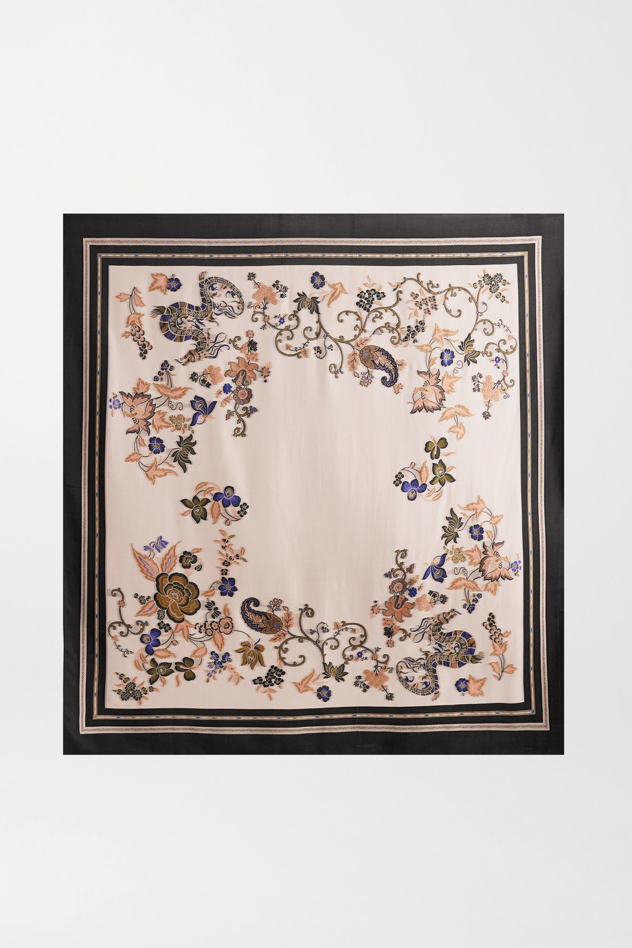 Etro Printed embroidered woven scarf