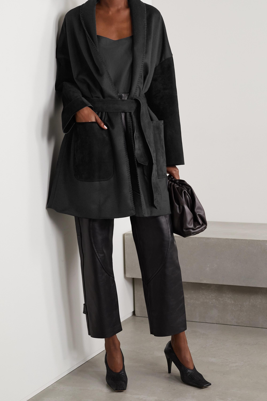 Salvatore Ferragamo Oversized belted suede-paneled wool and cashmere-blend felt jacket