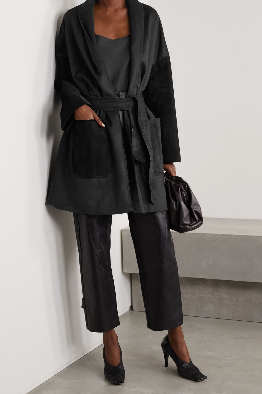 Salvatore Ferragamo Oversized belted suede-paneled wool and cashmere-blend felt jacket