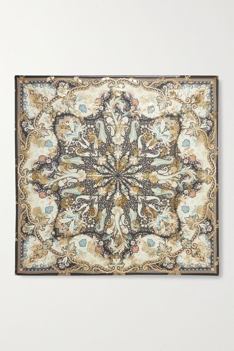 Etro Printed metallic fil coupé silk-blend chiffon scarf