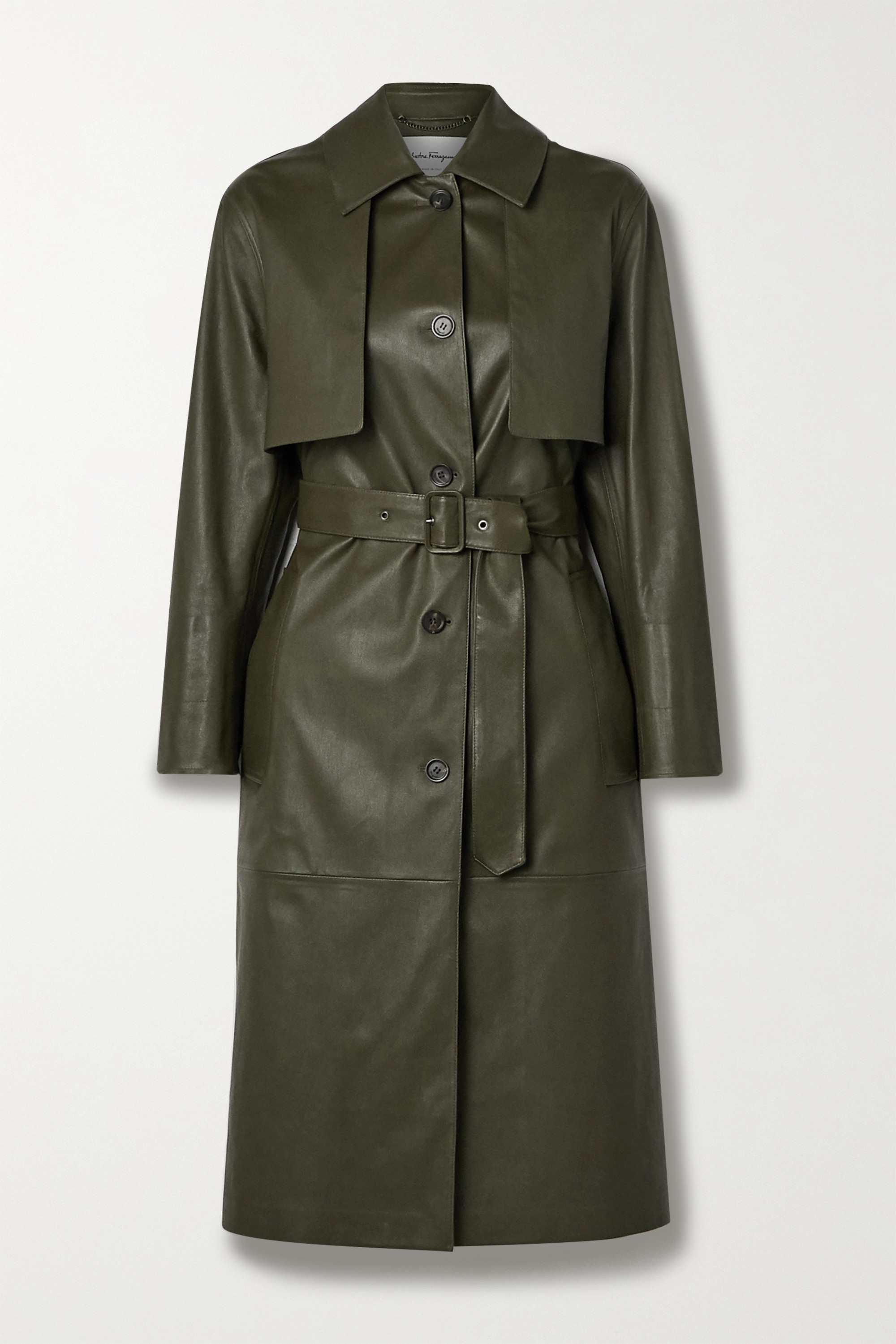Army Green Paneled Leather Trench Coat | Salvatore Ferragamo